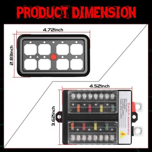 8 Gang Switch Panel Automatic Dimmable, OFFROADTOWN Universal Circuit Control Relay System Box On-Off LED Car Switch Pod Touch Switch Box for Truck Jeep Boat ATV UTV SUV Car
