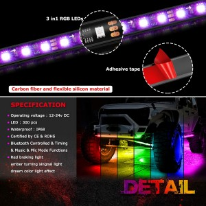 Car Neon Underglow Strip Lights 6pcs