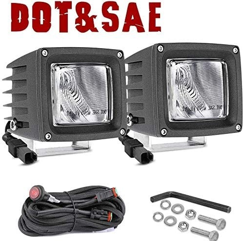 OFFROADTOWN 2pcs 3inch SAE LED Driving Lights Off road LED Pods CREE LED Work Light Waterproof LED Cubes for Truck Jeep Pickup ATV UTV Boat