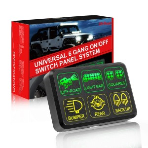 6 Gang Switch Panel, OFFROADTOWN Electronic Relay System with Circuit Control Box Waterproof Fuse Relay Box Wiring Harness Label Stickers for Car Jeep Truck Marine Boat ATV UTV