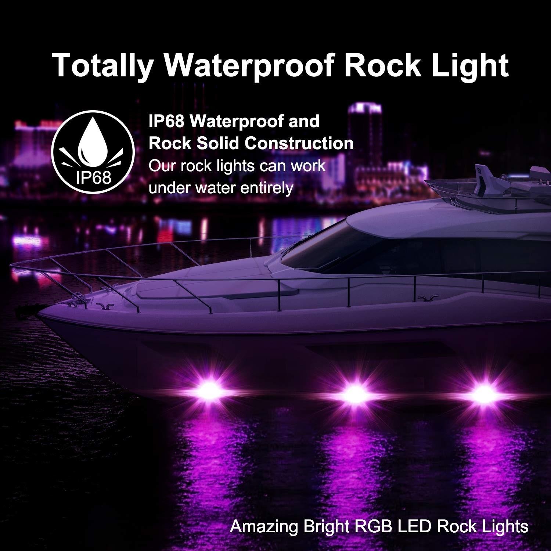 Night Break Light 12pcs RGB Led Rock Light for Trucks CREE LED 9W RGB Bluetooth App control 16 million Colors IP68 RGB Rock Underglow Lights Kit for Off Road SUV ATV Vehicle 4x4 Boat 4wd ATV