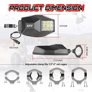 LED Sideview Mirror Kit, OFFROADTOWN UTV Side Rear View Mirrors Fit All 1.5-2 Inch Roll Bar , Mirrors and Bright LED Flood Light for UTV Polaris RZR Can am Maverick X3 XP 1000 Yamaha