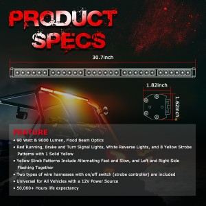 LED Chase Light Bar, OFFROADOWN 30'' Offroad Rear LED Chase Strobe Light Bar with Reverse Brake Turn Signal Light for UTV RZR Polaris Yamaha 4x4 Truck Dune Buggy ATV Can-Am Off Road