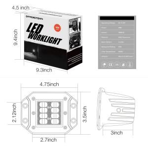 2Pcs 5'' 48W Flush LED Work Light
