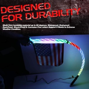 LED Whip Light with Flag, OFFROADTOWN 5FT Spiral RGB Chase Light RF Remote Controlled LED RGB Whip Lights Pole 360° Twisted Antenna Light With Dancing Light for Off- Road ATV UTV RZR Jeep Trucks Dune