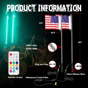 LED Whip Lights, OFFROADTOWN 2PCS 5FT Lighted Whips with Flag RF Remote Control Spiral Dancing/Chasing Light Antenna LED Whips For ATV UTV RZR Jeep Trucks 4X4 Buggy Dune