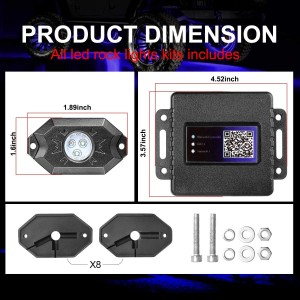 RGB Rock Light Kits, OFFROADTOWN RGB LED Rock Lights with 8 pods Lights Neon Trail Rig Lights Underglow UTV ATV SUV Off Road Truck Boat
