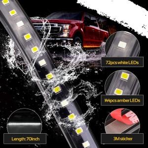 OFFROADTOWN 2pcs 70 Inch Truck Light LED Board Running Light for Extended & Crew Cab Trucks White/Amber Turn Signal Side Marker & Courtesy LED Lighting Strips Running Lights Kit for Trucks Pickup SUV