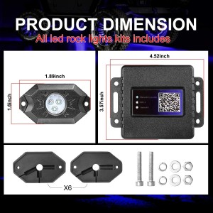 RGB Rock Light Kits, OFFROADTOWN RGB LED Rock Lights with 6 pods Lights Neon Trail Rig Lights Underglow Off Road Truck SUV UTV ATV Boat