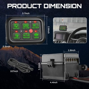 6 Gang Switch Panel Automatic Dimmable, OFFROADTOWN Universal Electronic Relay System Box Circuit Control On-Off LED Car Switch Pod Touch Switch Box for Truck Jeep Boat ATV UTV SUV Car