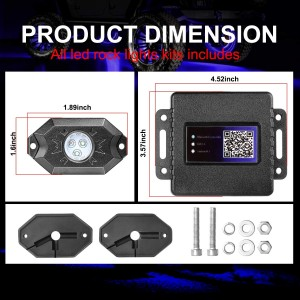 RGB Rock Light Kits, OFFROADTOWN RGB LED Rock Lights with 4 pods Lights Neon Trail Rig Lights Underglow Off Road Truck SUV UTV ATV Boat