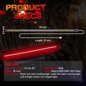 30 Inch LED Tail Light Strip with Amber Turn Signal Light, Red Brake/Running Light