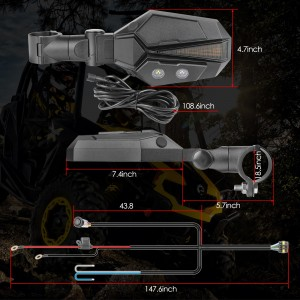UTV Sideview Lighted Mirror Kit, OFFROADTOWN Side View Mirror Adjustable Rear View Mirror for Polaris RZR, Kawasaki Teryx, Yamaha Rhino and YXZ, RZR 2020