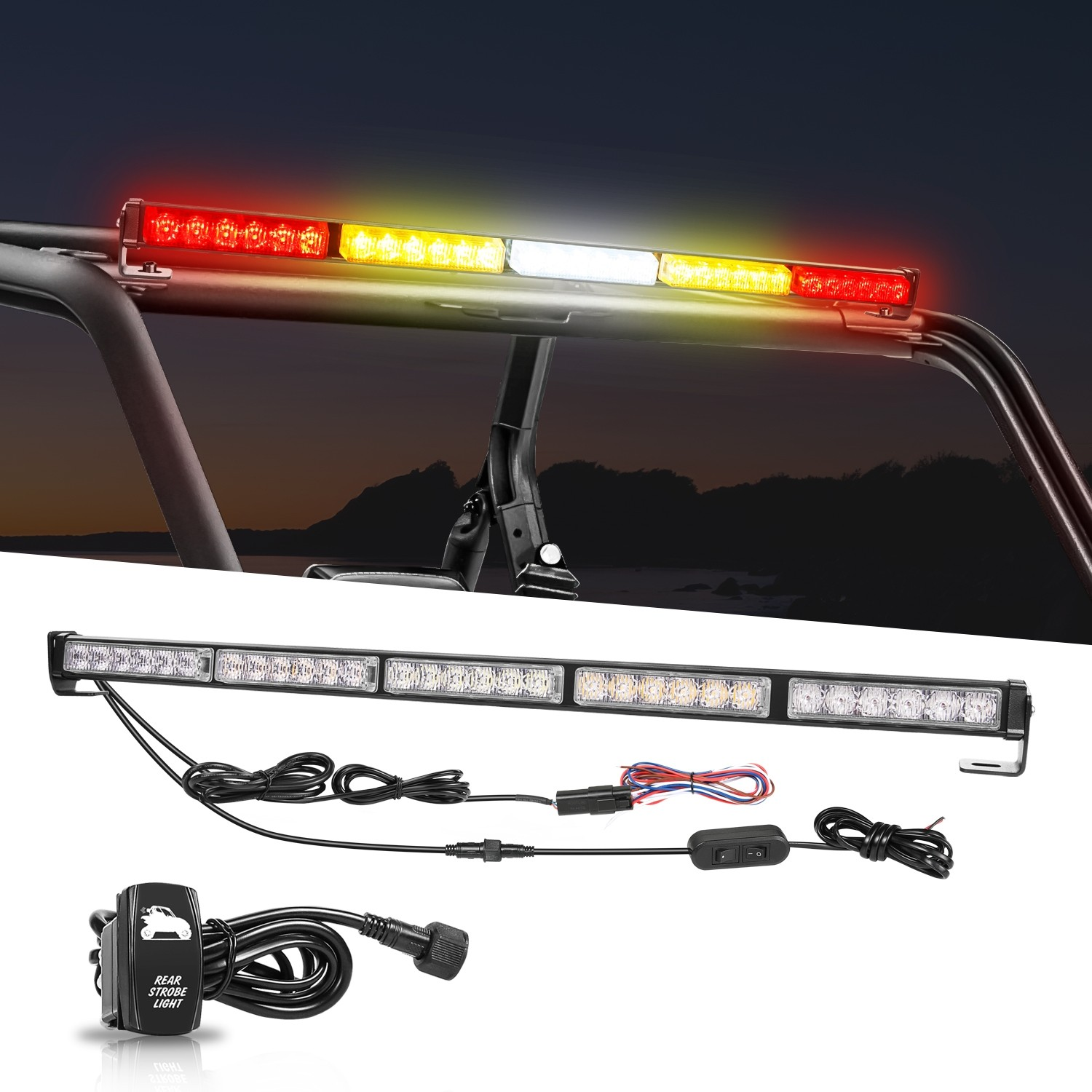 LED Chase Light Bar, OFFROADOWN 30'' Offroad Rear LED Chase Strobe Light Bar with Reverse Brake Turn Signal Light for UTV RZR Polaris Yamaha 4x4 Truck Dune Buggy ATV Can-Am Off Road