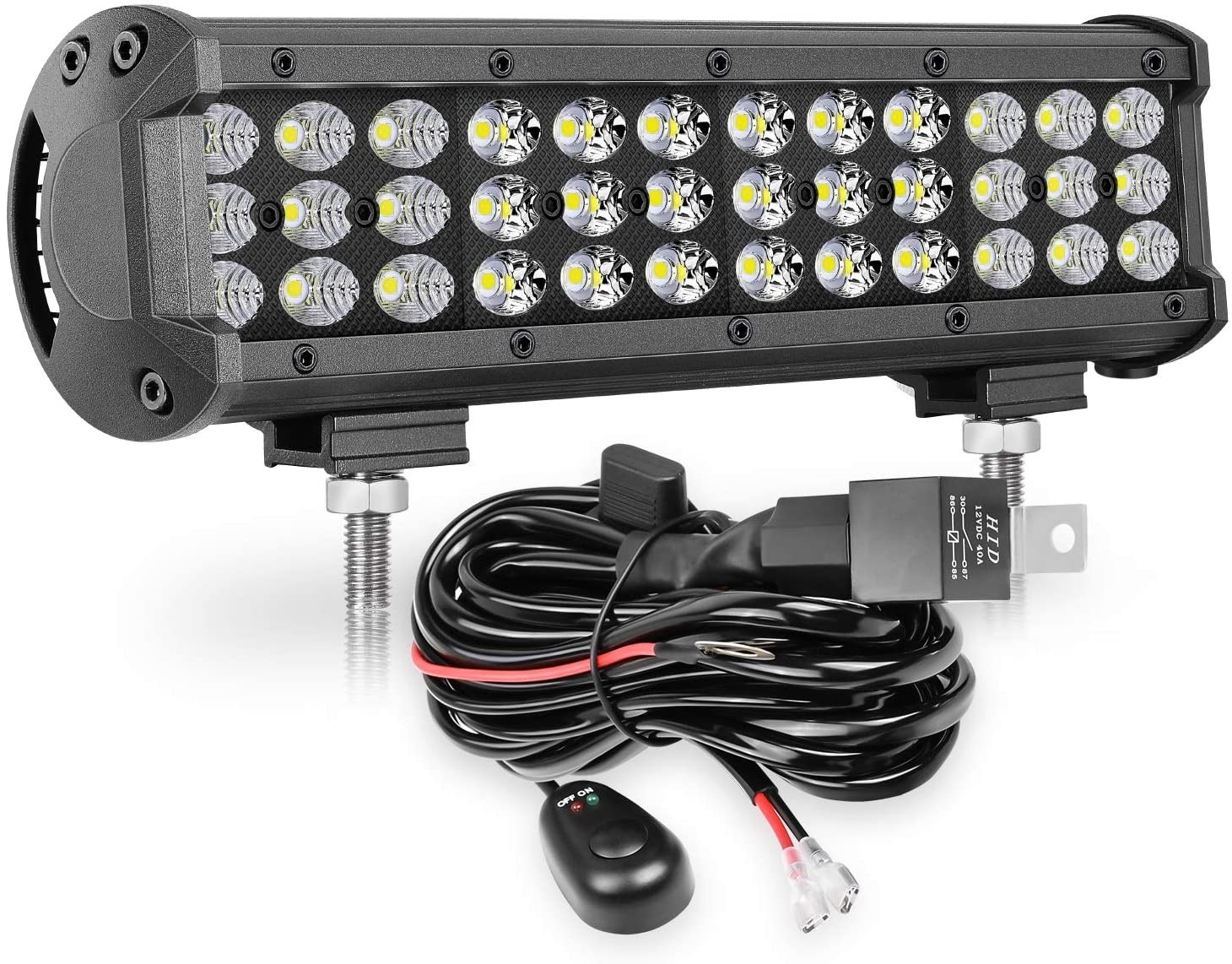 12'' 108W Combo LED Light Bar with Wiring Harness