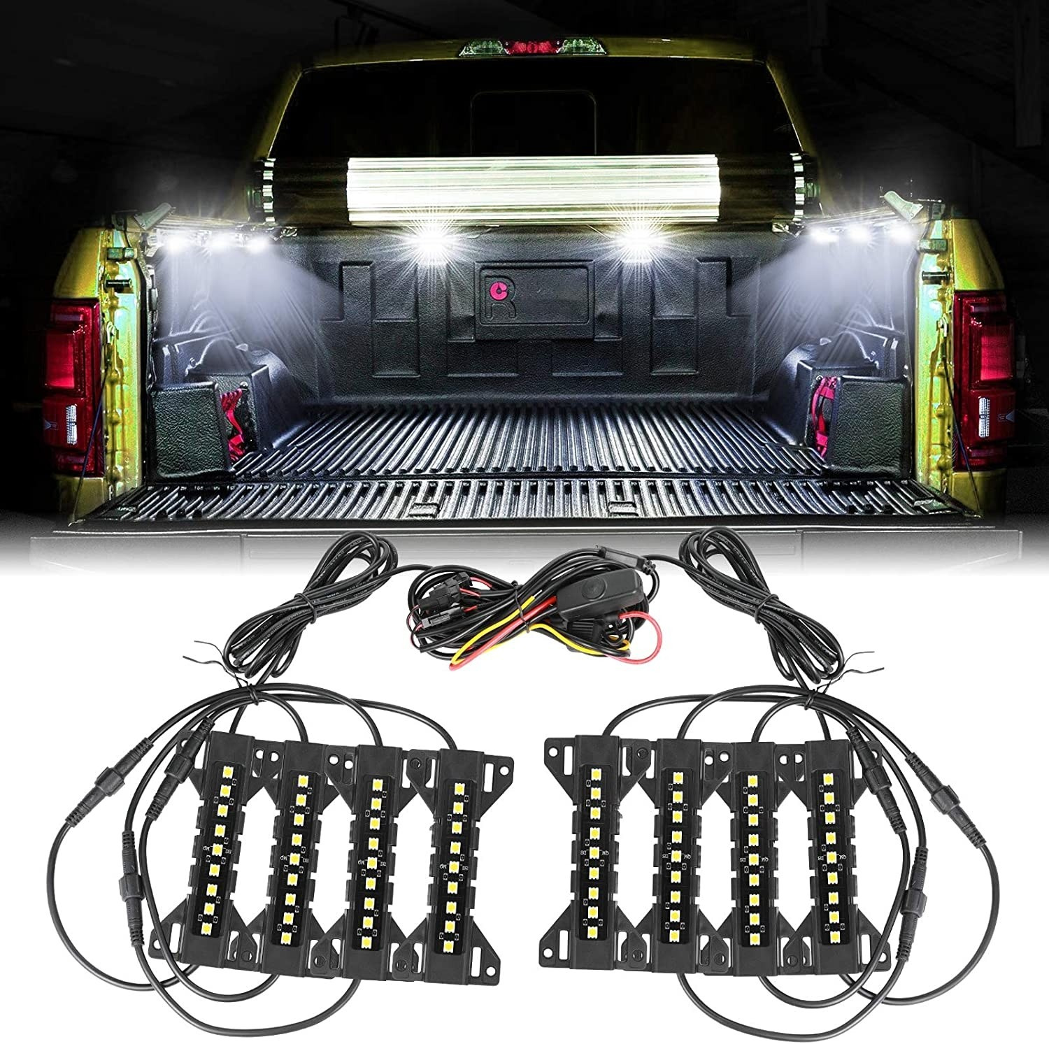 OFFROADTOWN 8PCS Truck Bed Lights w/Switch 72 LEDs LED Cargo Rock Lights Kit Accessories for Truck, Pickup, Van, Off-Road Under Car, Cargo Bed, Side Marker, Foot Wells, Rail Lights - White