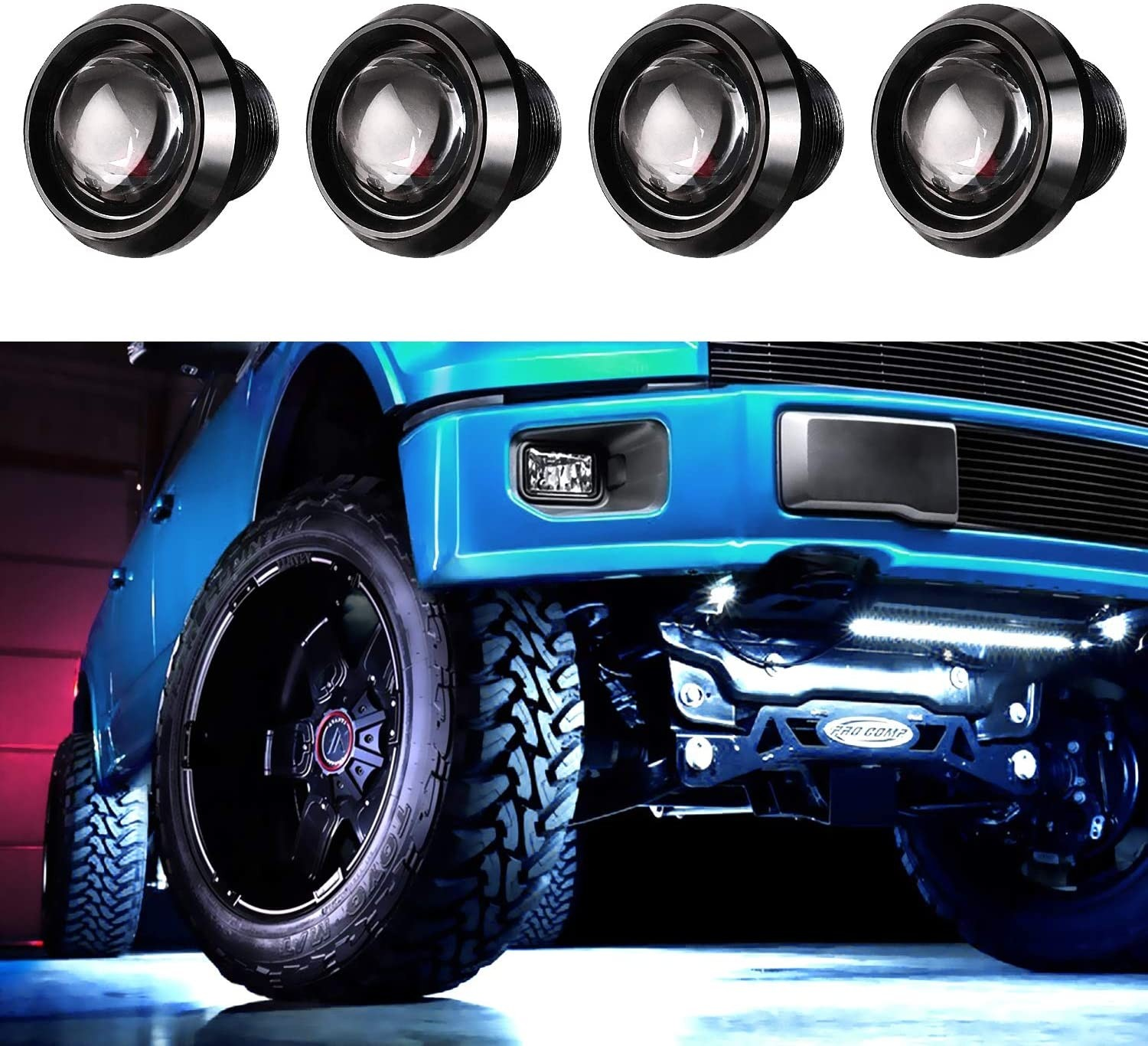 LED Rock Light Kits, OFFROADTOWN 4 Pods LED Neon Lights Underglow Trail Rig Lamp Waterproof Courtesy Light for Jeep Car Off Road Truck SUV UTV ATV Boat - White