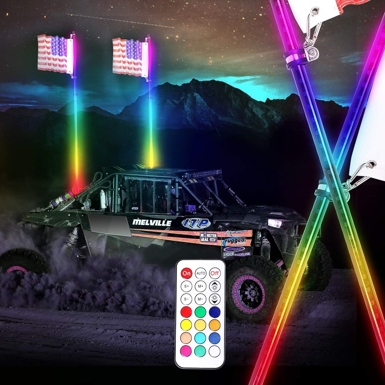 LED Whip Lights, OFFROADTOWN 2Pcs 5FT Remote Control Spiral Lighted Whips RGB Dancing/Chasing Whip Light LED Antenna Whips with Flag for ATV UTV RZR Polaris Jeep Truck 4X4 Buggy Dune