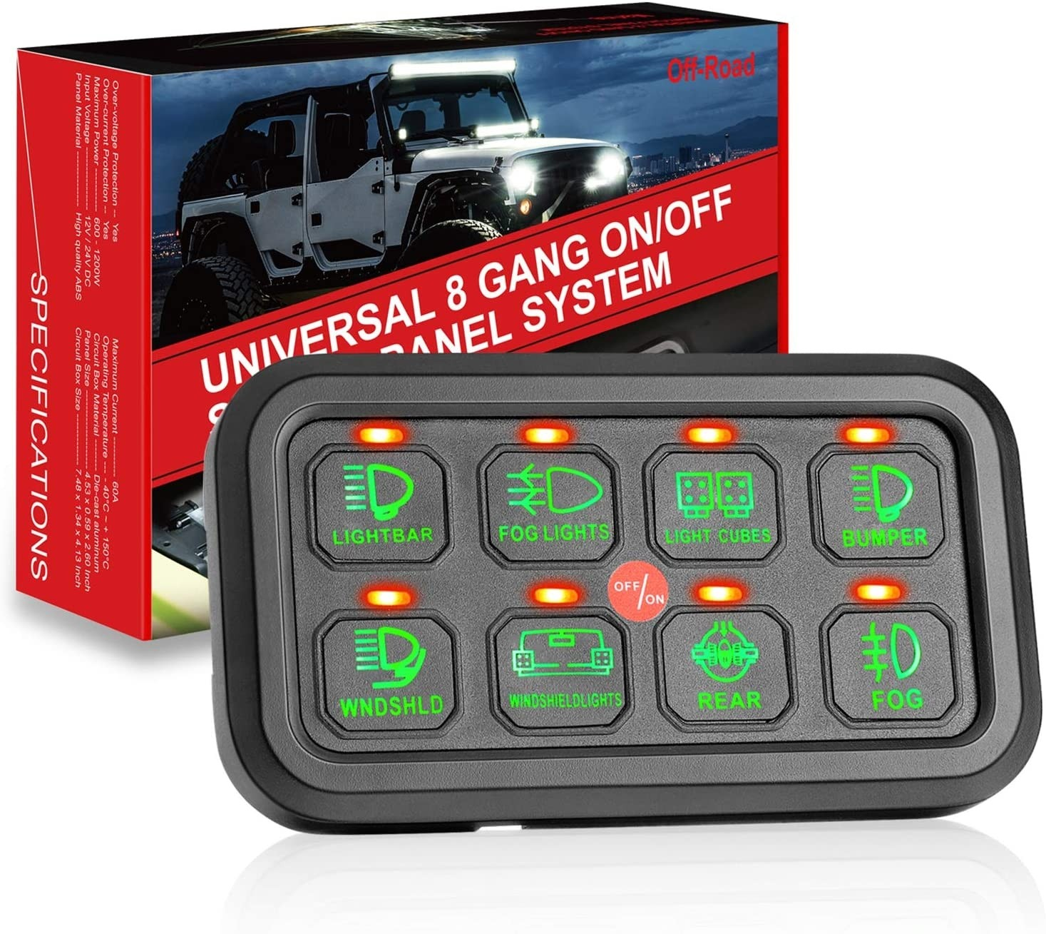 8 Gang Switch Panel, OFFROADTOWN Universal Circuit Control Relay System Box Button On-Off Switch Pod Touch Switch Box with Label Stickers and Harness for Truck ATV UTV Boat SUV Car Caravan