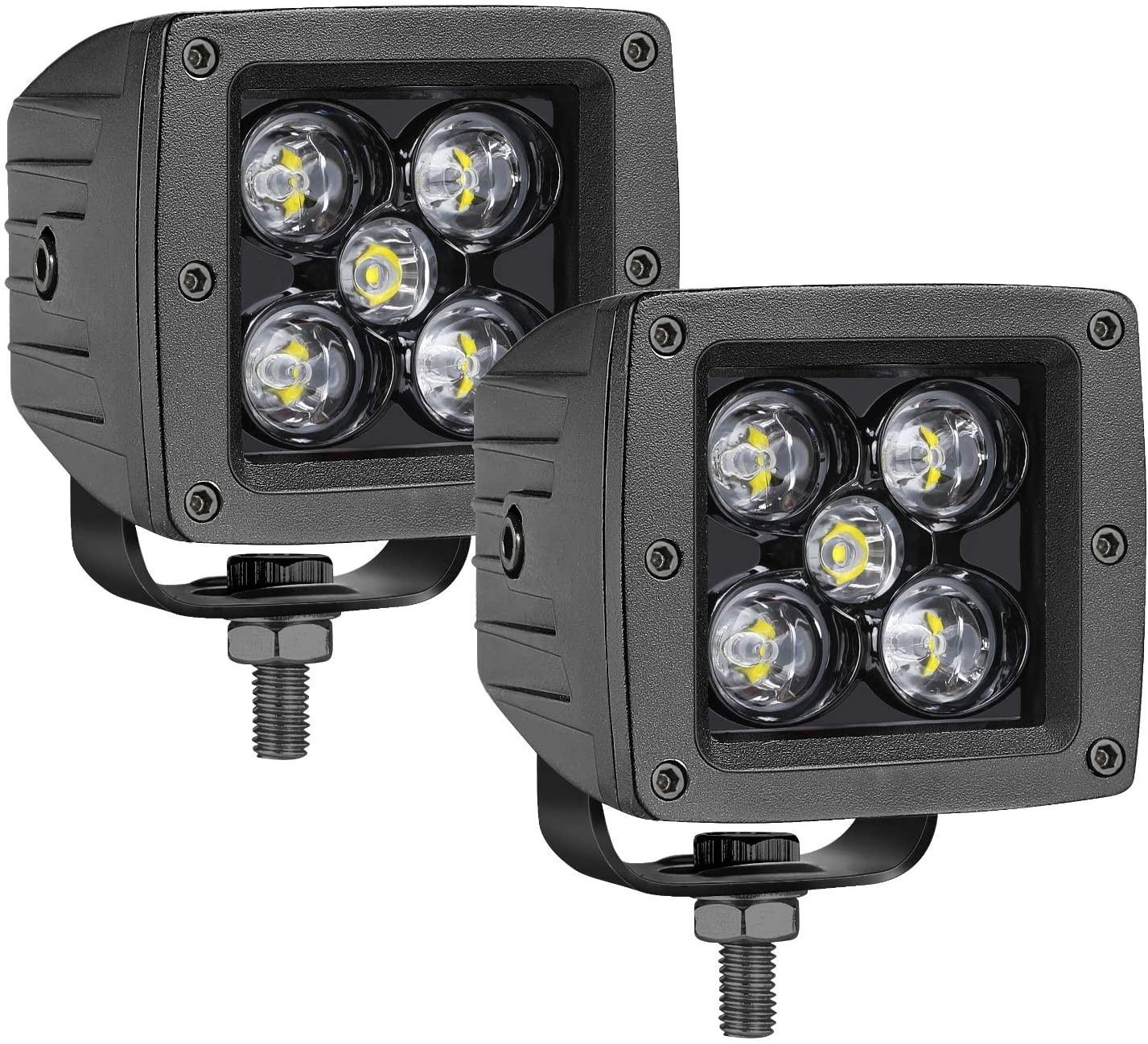 OFFROADTOWN LED Cubes, 2PCS 3 Inch 100W LED Pods Square Driving Light Spot Beam LED Light Bars LED Work Light Fog Lights for Trucks Jeep ATV UTV SUV Car Boat