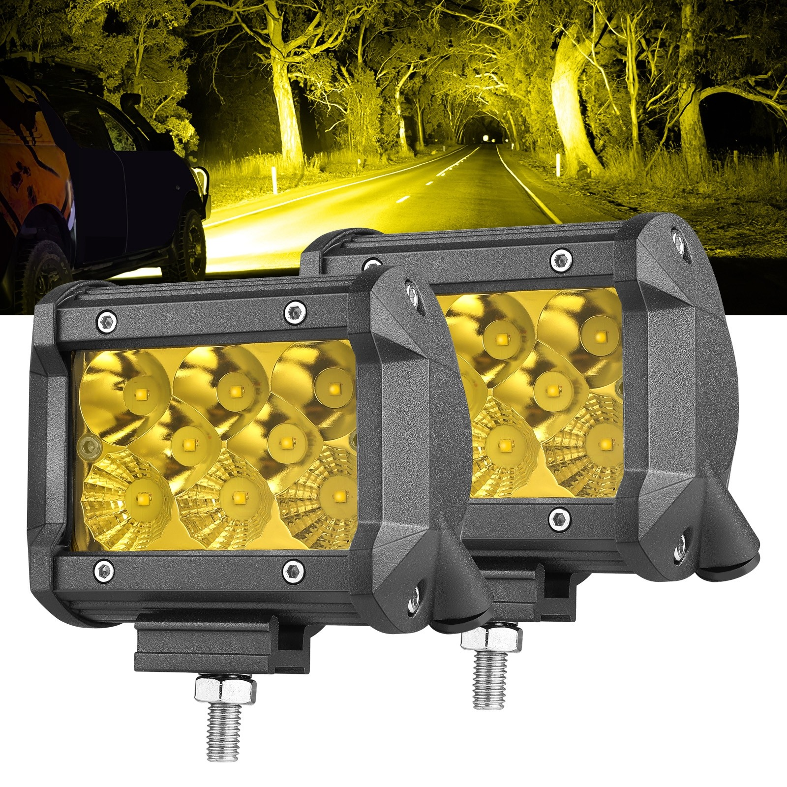 "4"" 96W Yellow LED Fog Light"