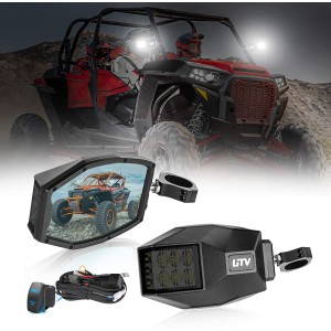 LED Sideview Mirror Kit, OFFROADTOWN UTV Side Rear View Mirrors Fit All 1.5-2 Inch Roll Bar Blue Anti-Glare Mirrors and Bright LED Flood Light for UTV Polaris RZR Can am Maverick X3 XP 1000 Yamaha