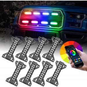 OFFROADTOWN LED Grille Lights, 8 Pack RGB Lighting Kit for Grille Raptor Lights Front Grille Lights Strobe Lights Neon Lights APP Control for Truck Ford Tacoma Chevy UTV Car Raptor Grille Accessories