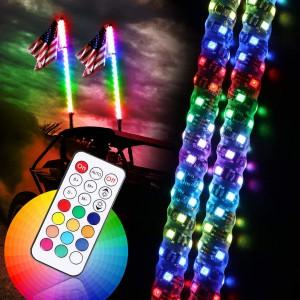 2PCS 4FT LED Whip Lights with Reverse Brake Turn Signal Function