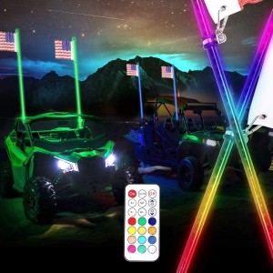 LED Whip Lights, OFFROADTOWN 2Pcs 4FT Remote Control Spiral Lighted Whips RGB Dancing/Chasing Light LED Antenna Whips for UTV ATV Polaris RZR Jeep Truck 4X4 SXS Buggy Dune