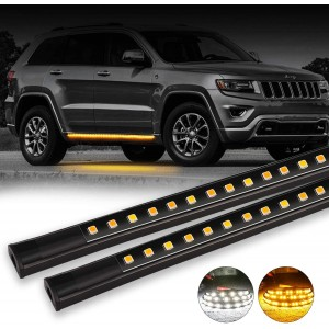 OFFROADTOWN 2pcs 48 Inch Jeep Light LED Board Running Light for Extended & Crew Cab Jeeps White/Amber Turn Signal Side Marker & Courtesy LED Lighting Strips Running Lights Kit for jeep UTV SUV