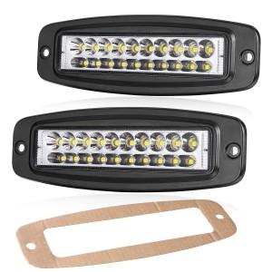 2Pcs 7'' 80W Flush LED Light Bar