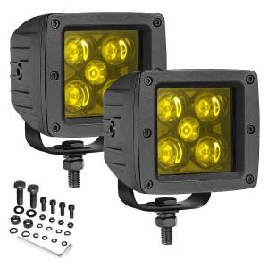 OFFROADTOWN LED Fog Lights 3Inch 100W Yellow LED Cubes Driving Light Off Road Pods Light Spot Beam LED Work Light Lamps for Trucks ATV UTV Boat Marine Motorcycle