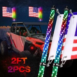2PCS 2FT LED Whip Light Spiral Lighted